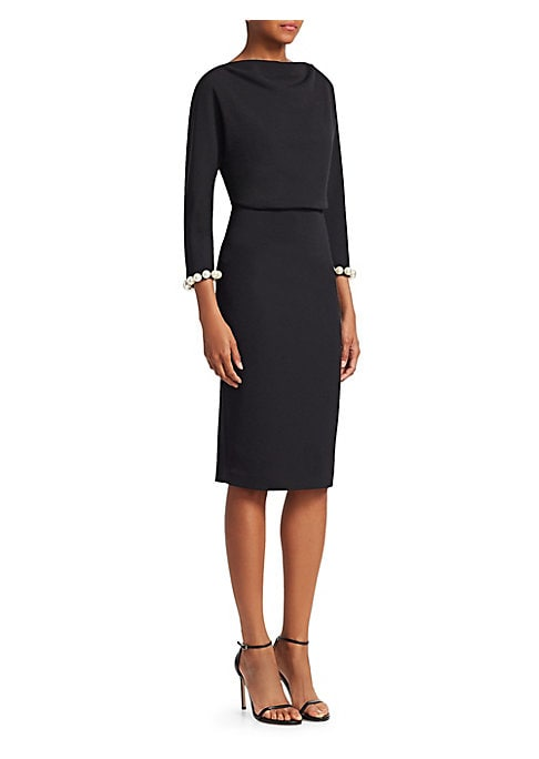 """Image of Chic knee-length crepe dress styled with a draped neckline and large faux-pearl trim. Boatneck. Three-quarter sleeves. Gathered waist. Concealed back zip closure. Lined. Polyester/elastane. Spot clean. Imported. SIZE & FIT. About 42"""" from shoulder to hem."""