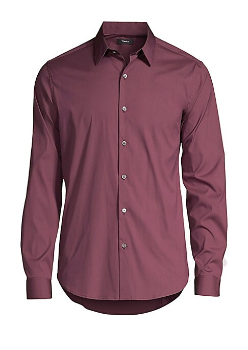 Image of Our classic slim shirt features a clean button placket, spread collar, and darting in the back to refine the fit. Made of fine stretch cotton, the shirt has a crisp, polished look. Point collar. Long sleeves. Front button close. Button cuffs. Shirttail he