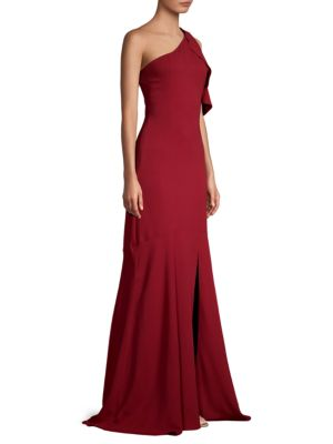PARKER BLACK Sarah Gown W/ Ruffle Cold Shoulder in Rosewood