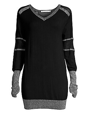 "Image of Long-line athletic sweater with breathable mesh panels. V-neck Long sleeves Pullover style Mesh paneling Long rib-knit cuffs Banded hem Viscose/nylon/polyester/lurex Machine wash Imported SIZE & FIT Relaxed fit About 28"" from shoulder to hem Model shown i"
