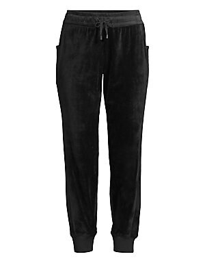"""Image of Soft drawstring velour joggers with luxe stretch silk lining. Tied drawstring waistband Slip-on style Side slip pockets Banded rib-knit cuffs Stretch silk lining Polyester/spandex Machine wash Imported SIZE & FIT Ankle crop Rise, about 10"""" Inseam, about 2"""