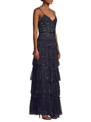 Miranda Tiered Sequin Tulle Formal Gown Dress, Dark Denim