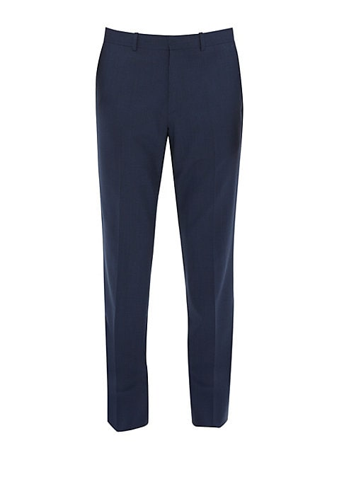 Image of A new-season straight-leg pant with an extended interior waist-tab to ensure a smooth, flattering fit. Waistband. Belt loops. Zip front with hook & eye closure. Side slash pockets. Back button welt pockets. Wool/spandex. Dry clean. Imported. SIZE & FIT. R