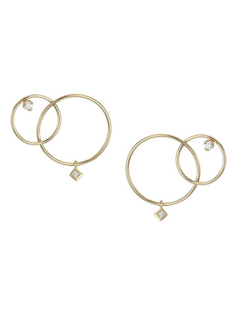 Paris 14K Yellow Gold & Diamond Mixed Interlocking Circle Stud Earrings