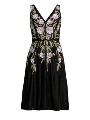 AIDAN MATTOX V-Neck 3D Floral Embroidered Velvet Dress W/ Pockets in Black