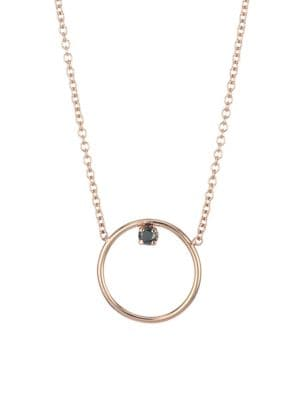 Zoe Chicco 14k Rose Gold Black Diamond Medium Circle Pendant Necklace