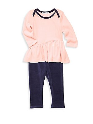 Image of Two-piece set of comfy velour top and pant set. Machine wash. Cotton/spandex. Made in USA. TOP Boatneck Long sleeves Pullover style Flounce hem Contrast trim PANTS Elasticated waist Pullover style. Children's Wear - Contemporary Children. Joah Love. Color