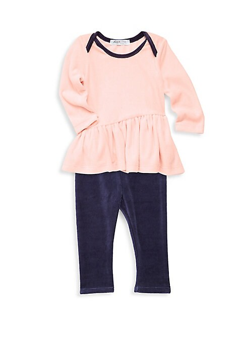 Image of Two-piece set of comfy velour top and pant set. Machine wash. Cotton/spandex. Made in USA. TOP. Boatneck. Long sleeves. Pullover style. Flounce hem. Contrast trim. PANTS. Elasticated waist. Pullover style.