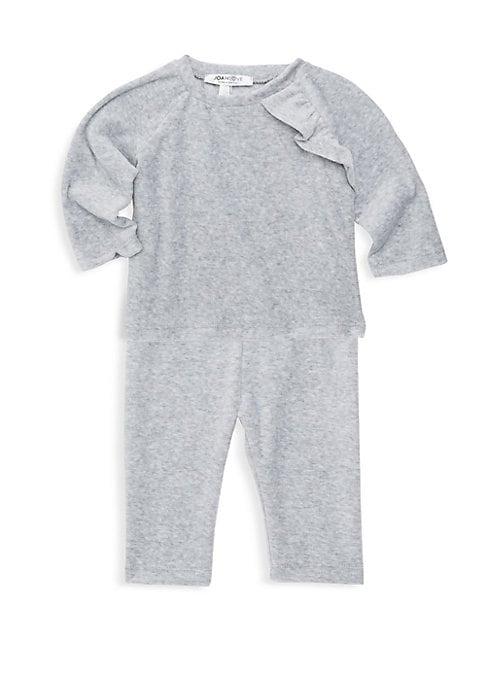 Baby Girls Luxe Velour Ruffle TwoPiece Pajama Set