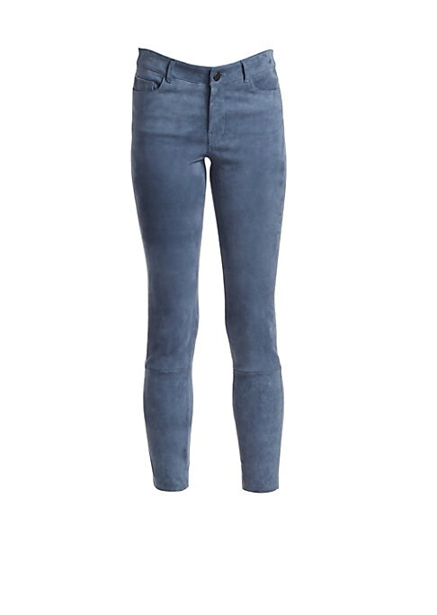 """Image of The everyday slim fit pant with five pockets. Belt loops. Zip fly with button close. Five-pocket style. Seamed calves. Suede. Dry clean. Imported. SIZE & FIT. Slim fit. Rise, about 11"""".Inseam, about 28"""".Model shown is 5'10"""" (177cm) wearing a US size 4."""