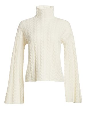 Horseshoes Cable-Knit Cashmere Turtleneck Sweater in Ivory
