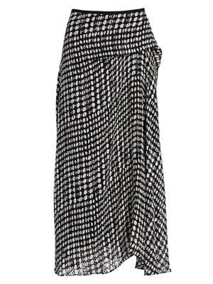 Draped Polka-Dot Fil Coupé Chiffon Midi Skirt in Black