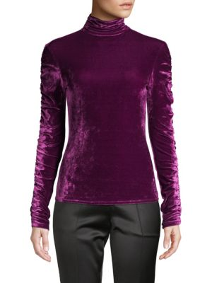 Josie Natori Tops Velvet Ruched Turtleneck