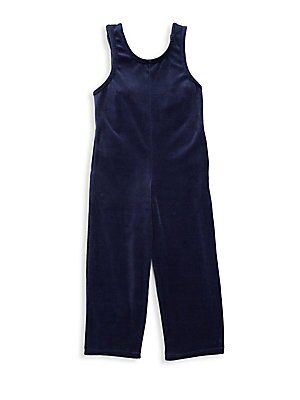 Image of Soft velvet overalls with modern tied back design. Roundneck Sleeveless Pull-on style Tied loop back straps Cotton/spandex Machine wash Made in USA. Children's Wear - Contemporary Children. Joah Love. Color: Navy. Size: 8.