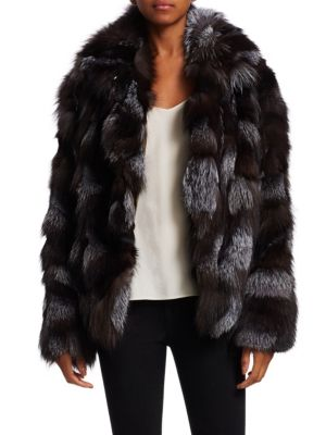 Dyed Fox Fur Patched Jacket, Charcoal