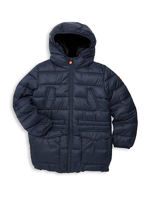 Image of Quilted jacket features utilitarian flap pockets. Attached hood. Long sleeves. Elasticized cuffs. Zip front. Chest and waist flap pockets. Elasticized hem. Nylon. Machine wash. Imported.