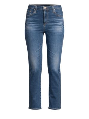 AG The Isabelle High Waist Crop Straight Leg Jeans, Blue