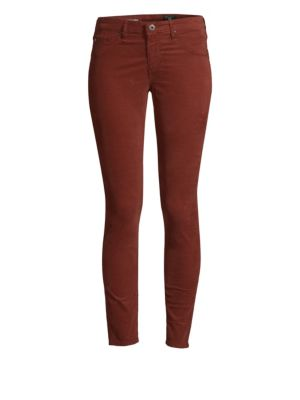 The Legging Corduory Skinny Ankle Jeans, Sulfur Tannic Red