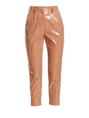Nº21 High-Waisted Shine Effect Trousers - Neutrals