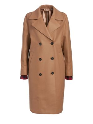 Wool Blend Double Breasted Camel Coat by No. 21