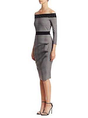 306b8c80c07 Chiara Boni La Petite Robe - Larissa Plaid Off-The-Shoulder Sheath -  saks.com