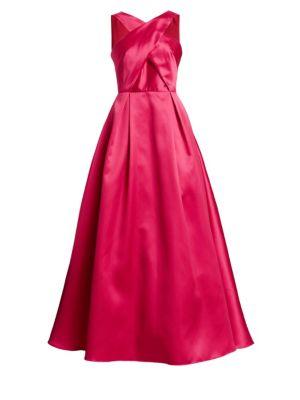 Halter Ball Gown W/ Crisscross Bodice, Cerise