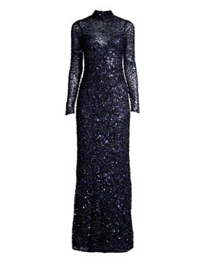 PARKER BLACK Leandra Sequin Long-Sleeve Gown Dress in Midnight