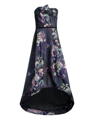 PARKER BLACK Estelle Strapless Floral High-Low Dress in Blue