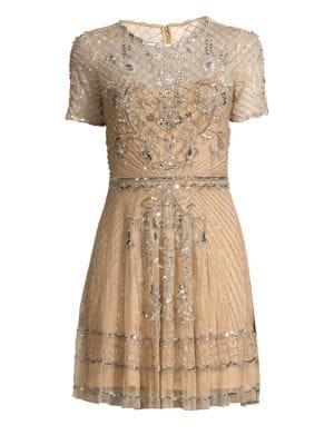 PARKER BLACK Daisy Embellished Mini Dress in Champagne