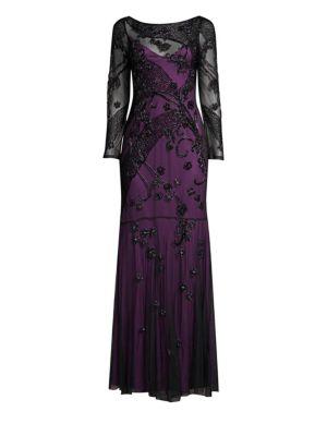 PARKER BLACK Sophia Sheer Floral Long-Sleeve Gown Dress in Plum