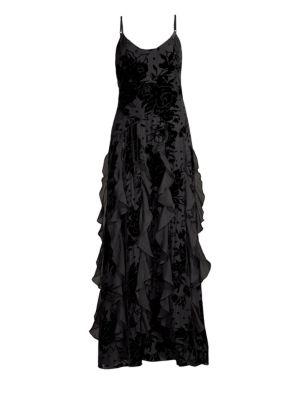 PARKER BLACK Equinox Velvet Flower Cascade Gown Dress in Black