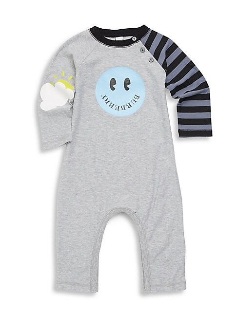Image of A bold striped sleeve and playful graphics add irresistible charm to this space-dyed cotton romper with easy snap-button closures. Round neck with button closures. Long sleeves. Bottom snap button closures. Cotton. Machine wash. Imported.