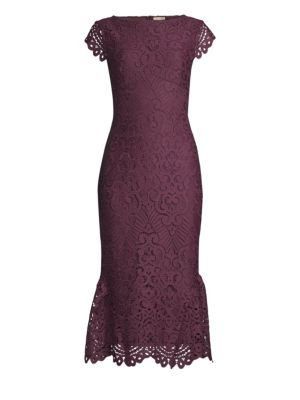 SHOSHANNA Gwen Lace Fit-&-Flare Dress in Aubergine