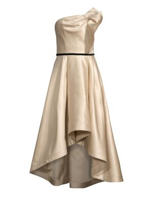 SHOSHANNA Amberose Strapless Satin High-Low Dress in Champagne