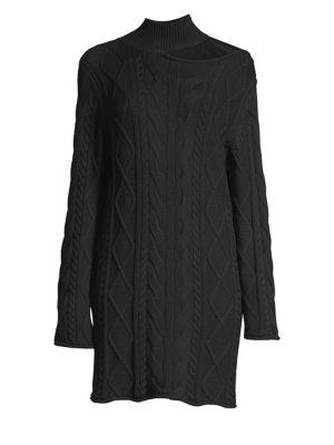 Corin Cold-Shoulder Cable-Knit Cotton Mini Dress, Winter