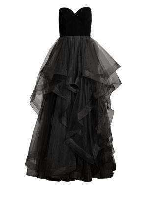 Basix Black Label Strapless Velvet Cascade Tulle Gown