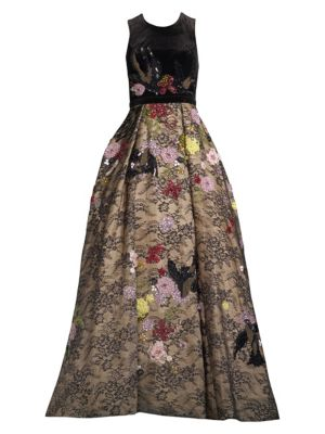 Basix Black Label Floral Floor-Length Gown
