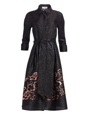 TERI JON BY RICKIE FREEMAN Floral Jacquard Self-Tie Shirt Dress in Black