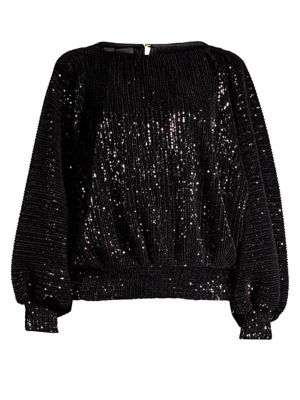 Pippa Sequined Stretch-Tulle Top in Black
