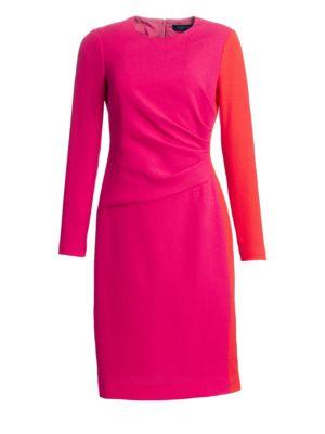 TERI JON BY RICKIE FREEMAN Draped Wool Sheath Dress in Fuschia Orange