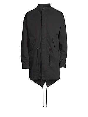 Image of A classic fishtail silhouette parka in a garment-washed cotton-nylon blend with an onion-quilted, button-in liner. Dry clean. Imported. PARKA Stand collar Long sleeves Button cuffs Concealed zip front under snap placket Front angled flap pockets Drawstrin