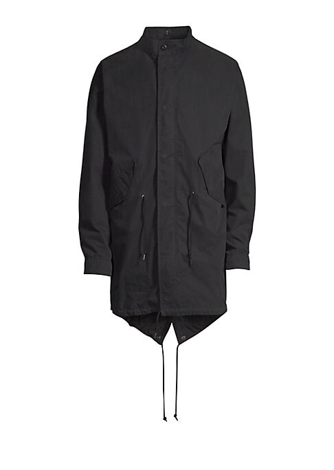 Image of A classic fishtail silhouette parka in a garment-washed cotton-nylon blend with an onion-quilted, button-in liner. Dry clean. Imported. PARKA. Stand collar. Long sleeves. Button cuffs. Concealed zip front under snap placket. Front angled flap pockets. Dra