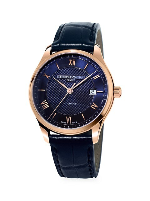 Classics Index Rose Goldtone & Leather Strap Automatic Watch