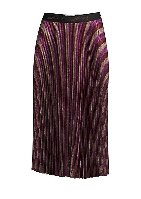 "Image of Dimensional pleated stripes receive a bold transformation in the form of metallics. Elasticized waist. Pull-on style. Accordion pleats. Polyester/acetate/mixed fabrics. Dry clean. Made in Italy. SIZE & FIT.A-line silhouette. About 32"" long. Model shown is"