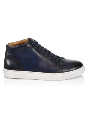 Saks Fifth Avenue Collection By Magnanni Burnished Leather Lace Up Sneakers