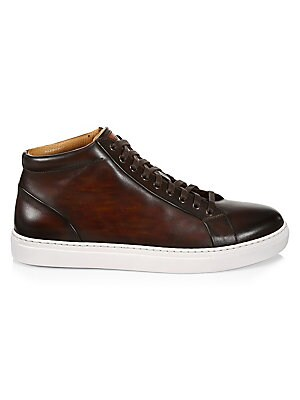 Image of ONLY AT SAKS. Supple leather high-top sneakers merges athleisure with refinement. Leather upper Round toe Lace-up vamp Leather lining Synthetic sole Made in Spain. Mens Pvt Brands - Sfamc Shoes. Saks Fifth Avenue. Color: Brown. Size: 11 M.