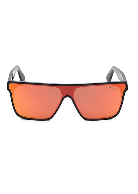 Image of Colorful lenses elevate these shield sunglasses.100% UV protection. Solid blue lenses. Case and cleaning cloth included. Acetate. Made in Italy. SIZE.0 mm lens width.0 mm bridge width.140 mm temple length.