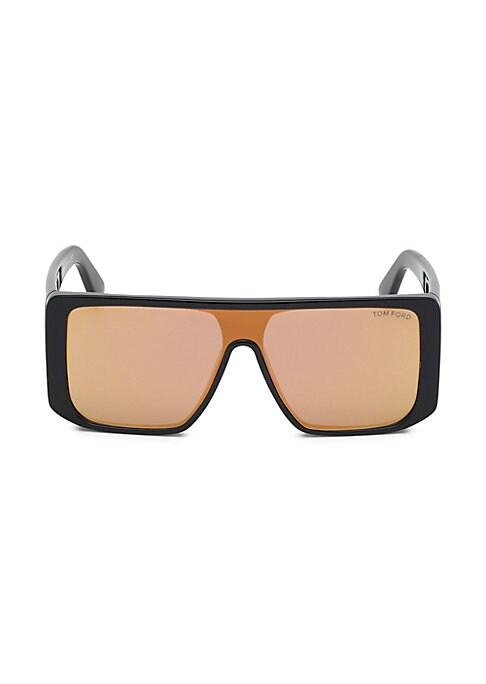 Image of Angular geometric shield sunglasses with extra coverage at temples.100% UV protection. Normal lens. Case and cleaning cloth included. Plastic. Made in Italy. SIZE.145mm temple length.