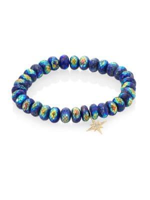 Sydney Evan Lapis Diamond 14k Gold Rondelle Starburst Bracelet