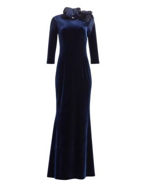 TERI JON BY RICKIE FREEMAN Taffeta Shoulder Velvet A-Line Gown in Navy